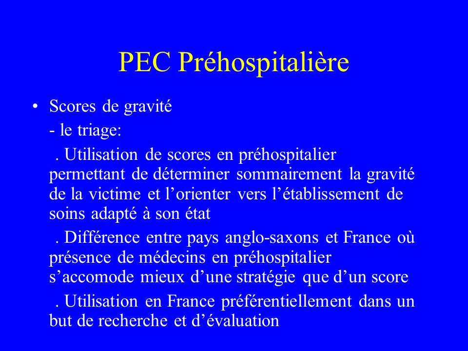 PEC Préhospitalière Scores de gravité - le triage:.