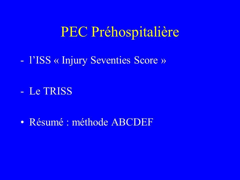 PEC Préhospitalière -lISS « Injury Seventies Score » -Le TRISS Résumé : méthode ABCDEF