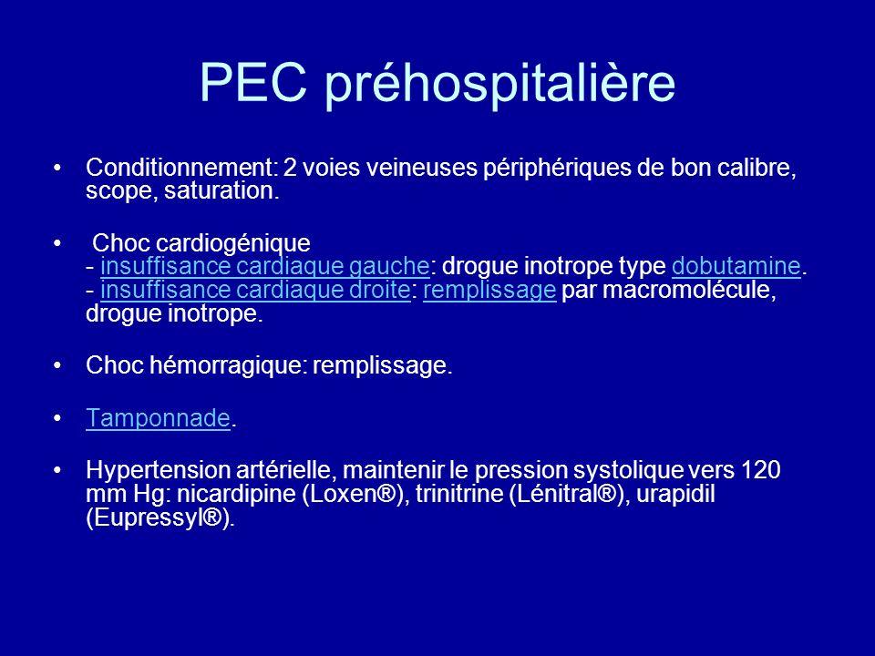 PEC préhospitalière Conditionnement: 2 voies veineuses périphériques de bon calibre, scope, saturation. Choc cardiogénique - insuffisance cardiaque ga