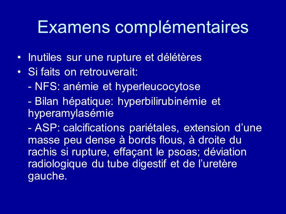 Examens complémentaires Inutiles sur une rupture et délétères Si faits on retrouverait: - NFS: anémie et hyperleucocytose - Bilan hépatique: hyperbili