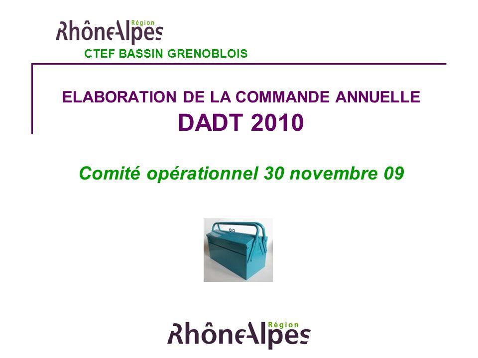 ELABORATION DE LA COMMANDE ANNUELLE DADT 2010 Comité opérationnel 30 novembre 09 CTEF BASSIN GRENOBLOIS