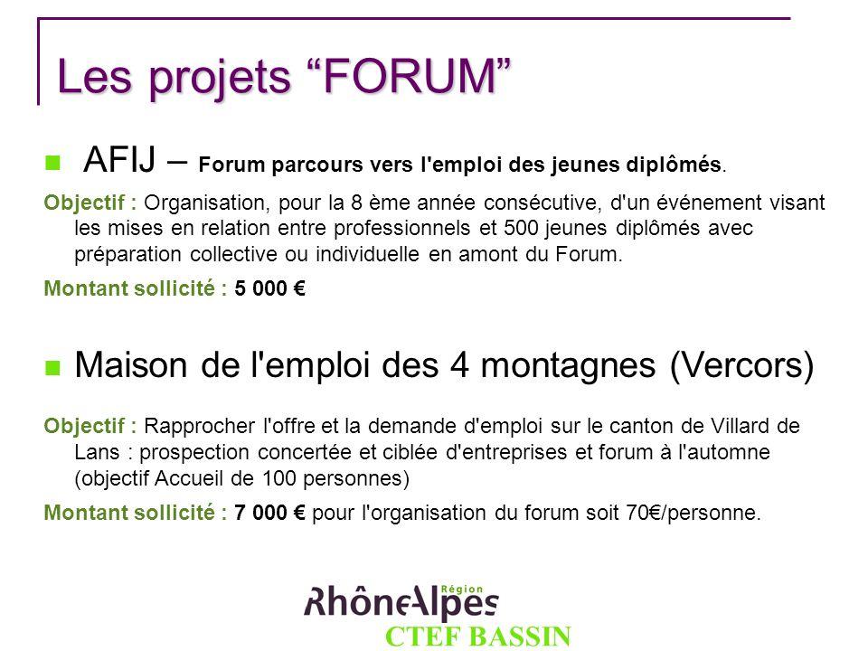 CTEF BASSIN GRENOBLOIS Les projets FORUM Les projets FORUM AFIJ – Forum parcours vers l'emploi des jeunes diplômés. Objectif : Organisation, pour la 8