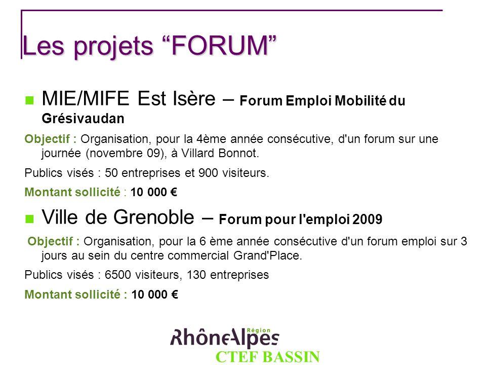 CTEF BASSIN GRENOBLOIS Les projets FORUM MIE/MIFE Est Isère – Forum Emploi Mobilité du Grésivaudan Objectif : Organisation, pour la 4ème année consécu