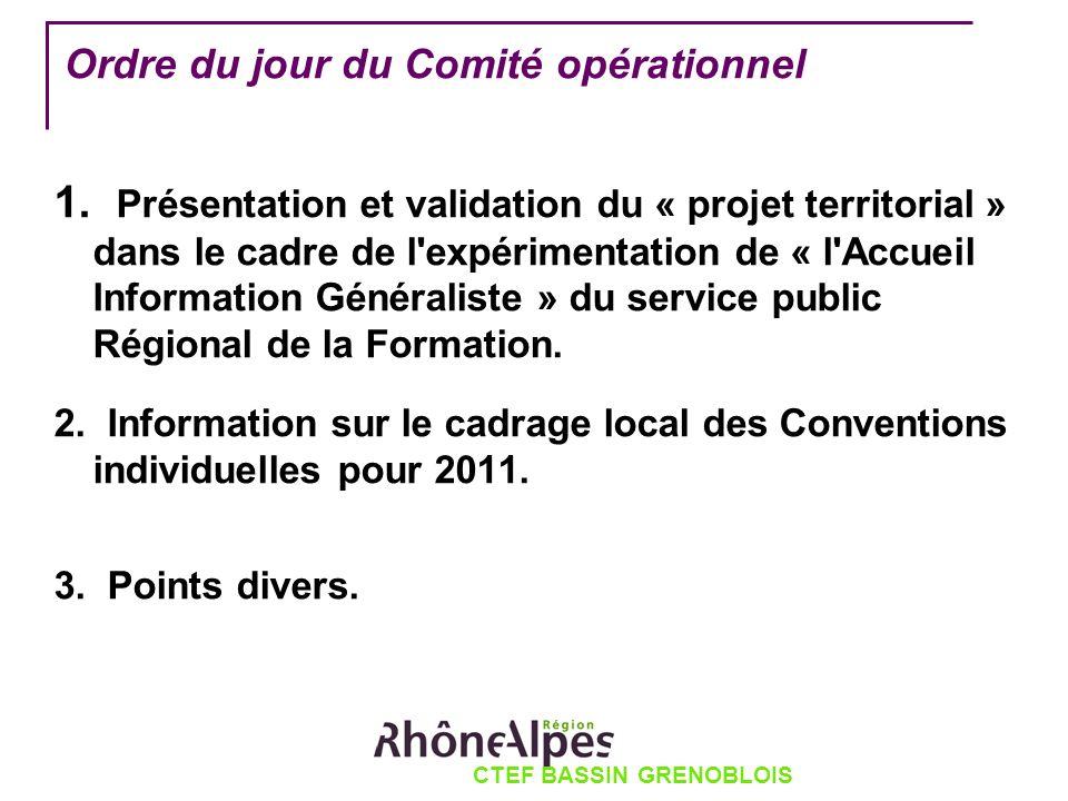 Ordre du jour du Comité opérationnel 1. Présentation et validation du « projet territorial » dans le cadre de l'expérimentation de « l'Accueil Informa