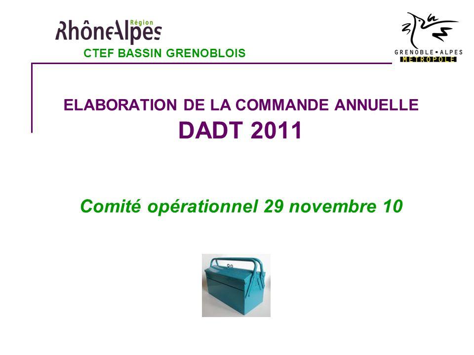 ELABORATION DE LA COMMANDE ANNUELLE DADT 2011 Comité opérationnel 29 novembre 10 CTEF BASSIN GRENOBLOIS