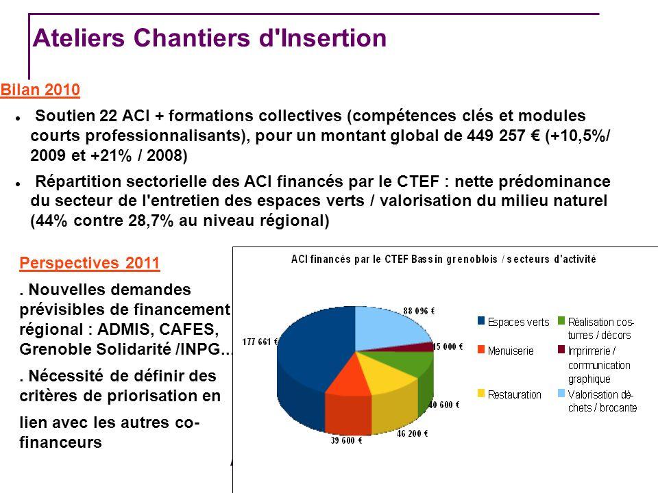 CTEF BASSIN GRENOBLOIS Ateliers Chantiers d Insertion Bilan 2010 Soutien 22 ACI + formations collectives (compétences clés et modules courts professionnalisants), pour un montant global de 449 257 (+10,5%/ 2009 et +21% / 2008) Répartition sectorielle des ACI financés par le CTEF : nette prédominance du secteur de l entretien des espaces verts / valorisation du milieu naturel (44% contre 28,7% au niveau régional) Perspectives 2011.