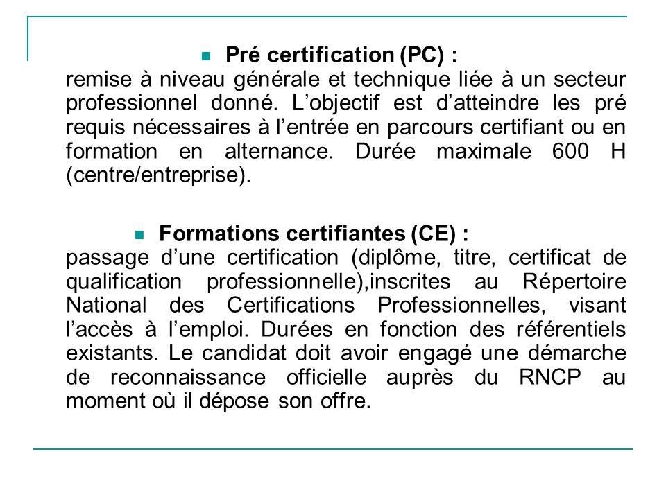 Pré certification (PC) : remise à niveau générale et technique liée à un secteur professionnel donné.