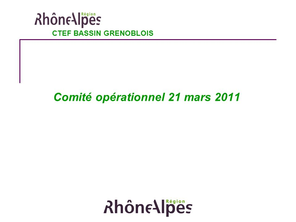 Ordre du jour du Comité opérationnel 1.Point d information sur l enveloppe 2011 2.