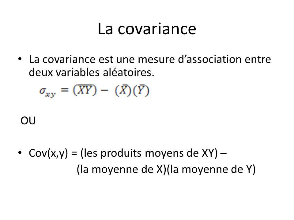 La covariance La covariance est une mesure dassociation entre deux variables aléatoires. OU Cov(x,y) = (les produits moyens de XY) – (la moyenne de X)