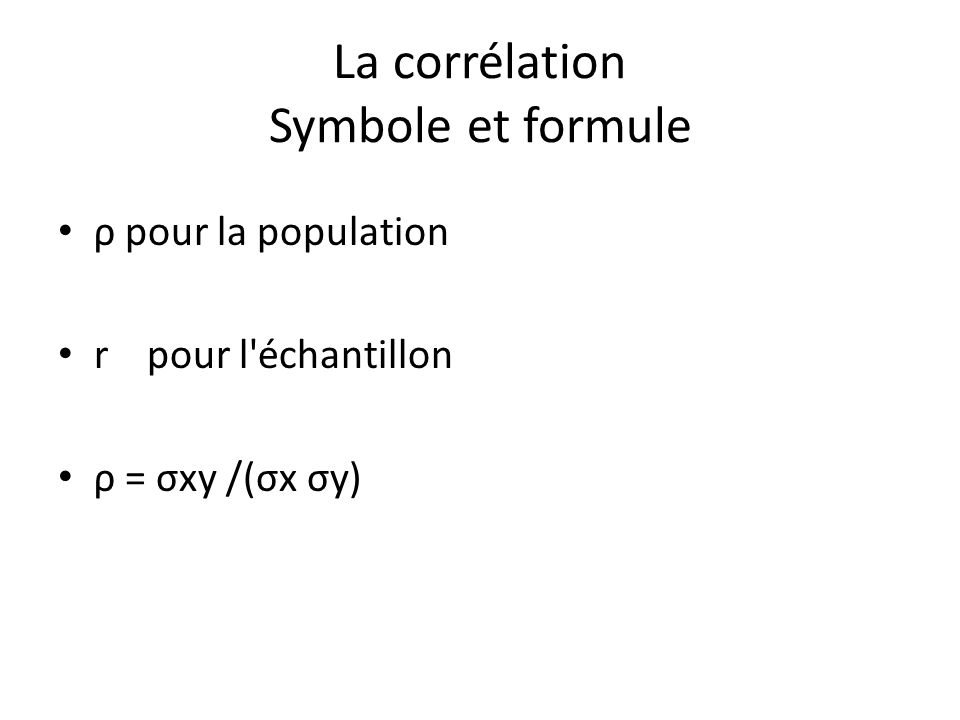 Le calcul des corrélations XYXY 199 21530 4832 2510 31133 Moyenne = 2.4Moyenne = 9.6Moyenne =22.8 Écart-type = 1.72Écart-type = 3.32 Cov= 22.8 – (2.4)(9.6) = -0.24 r= -0.24 / [(1.02)(3.32)] = -0.0709