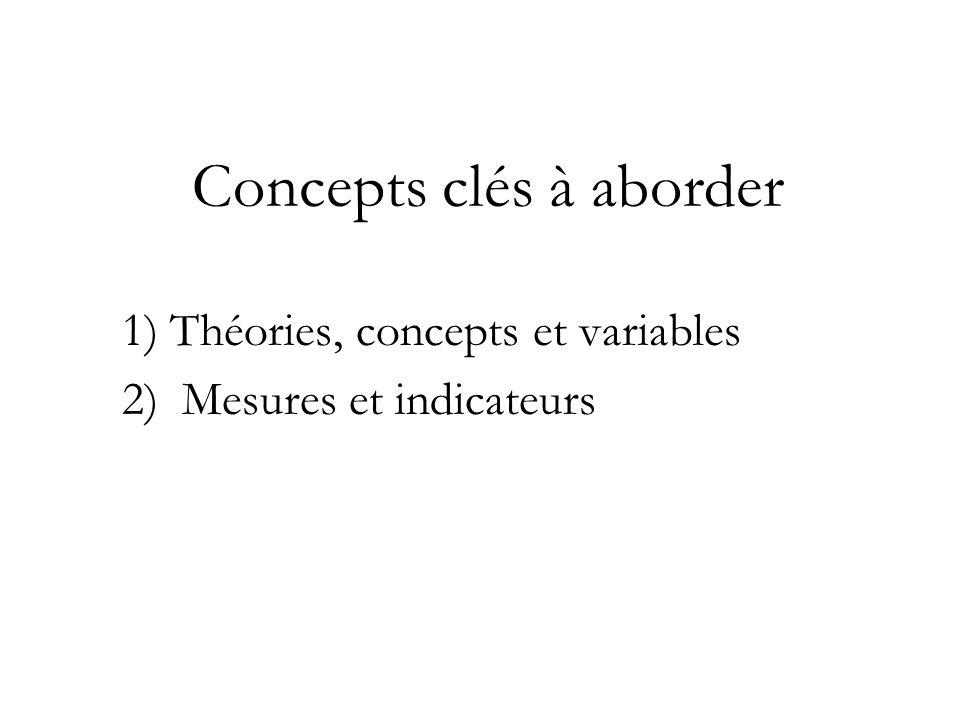 Théories, concepts et variables Dans les sciences sociales, le terme théorie est employé pour se référer aux explications des régularités observables ou des tendances.