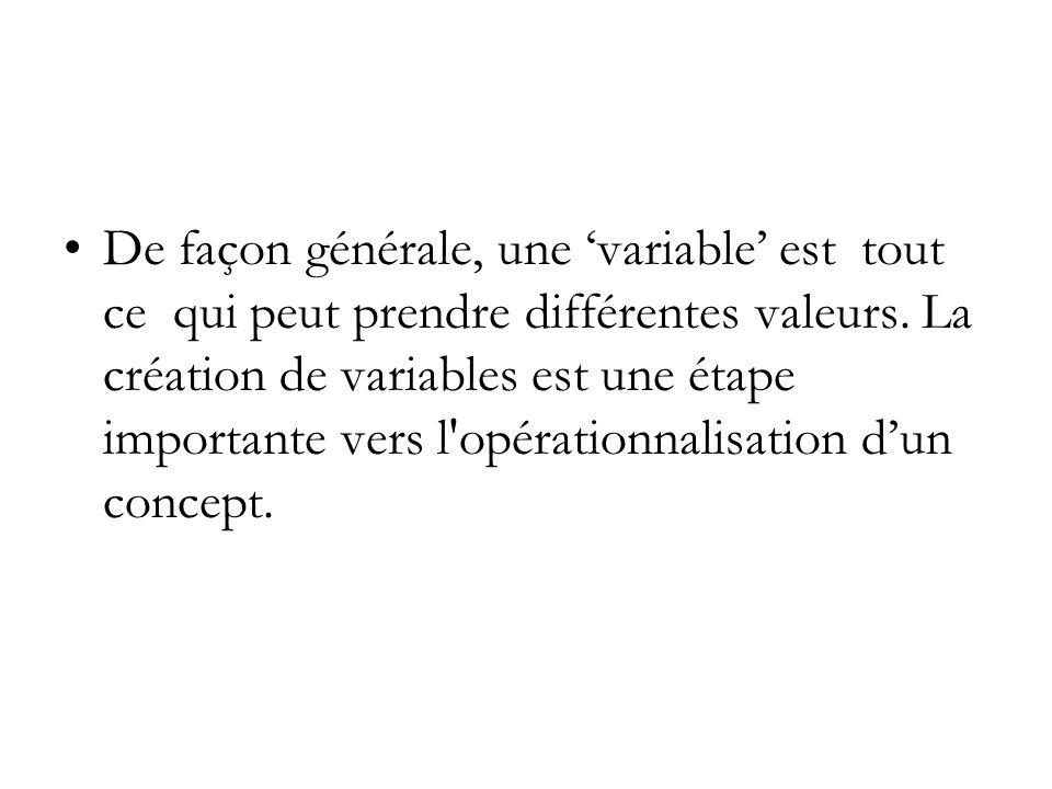 L opérationnalisation dun concept est l élaboration dune définition spécifique qui nous permet de mesurer ce concept.