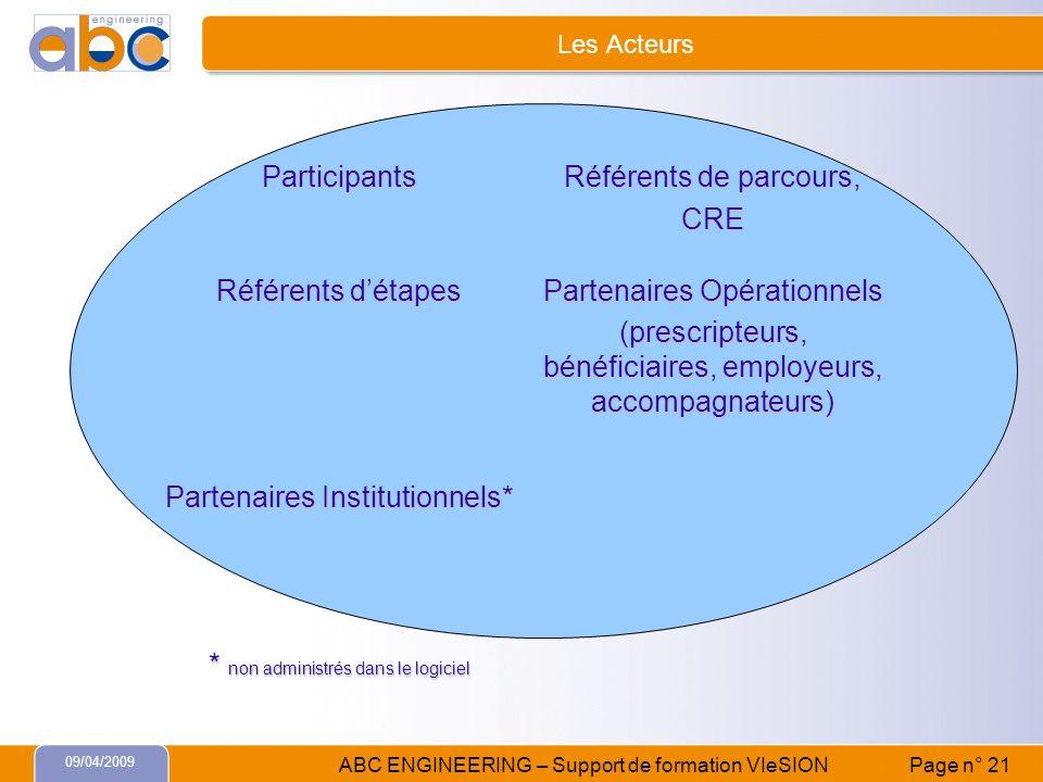 09/04/2009 ABC ENGINEERING – Support de formation VIeSION Page n° 21 Les Acteurs Participants Référents de parcours, CRE Référents détapes Partenaires