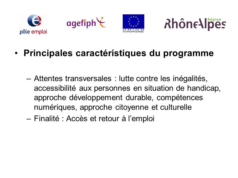 Principales caractéristiques du programme –Attentes transversales : lutte contre les inégalités, accessibilité aux personnes en situation de handicap,