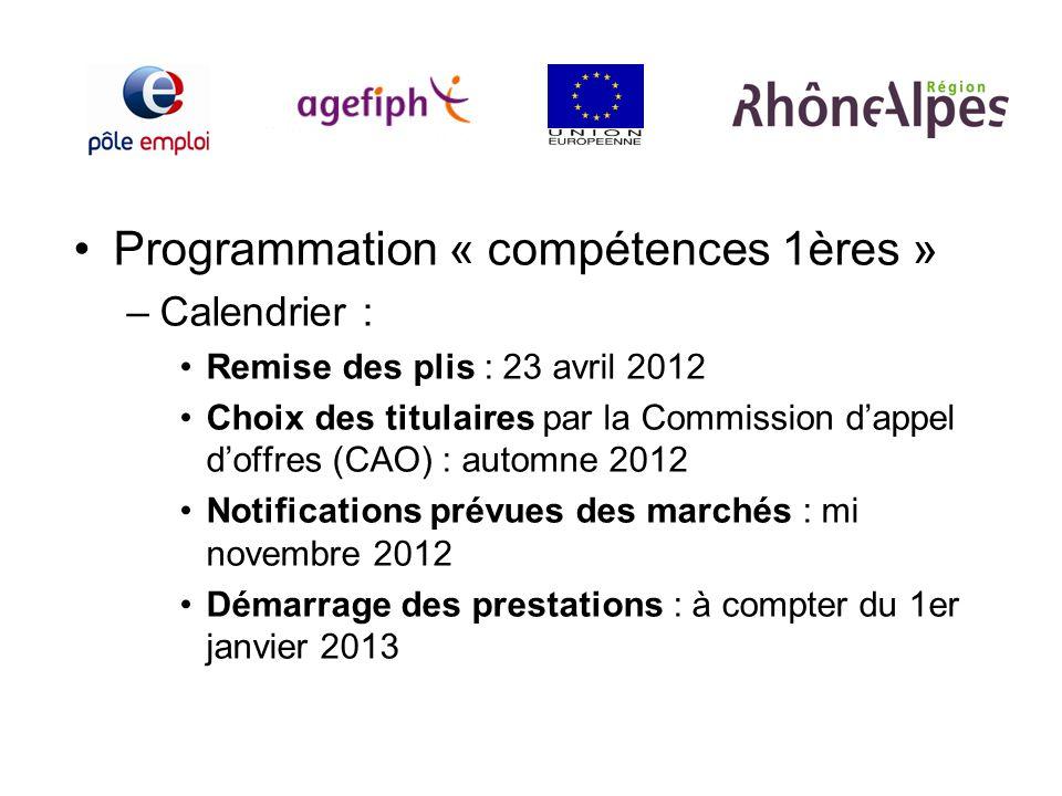 Programmation « compétences 1ères » –Calendrier : Remise des plis : 23 avril 2012 Choix des titulaires par la Commission dappel doffres (CAO) : automn