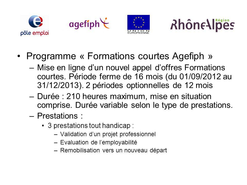 Programme « Formations courtes Agefiph » –Mise en ligne dun nouvel appel doffres Formations courtes. Période ferme de 16 mois (du 01/09/2012 au 31/12/