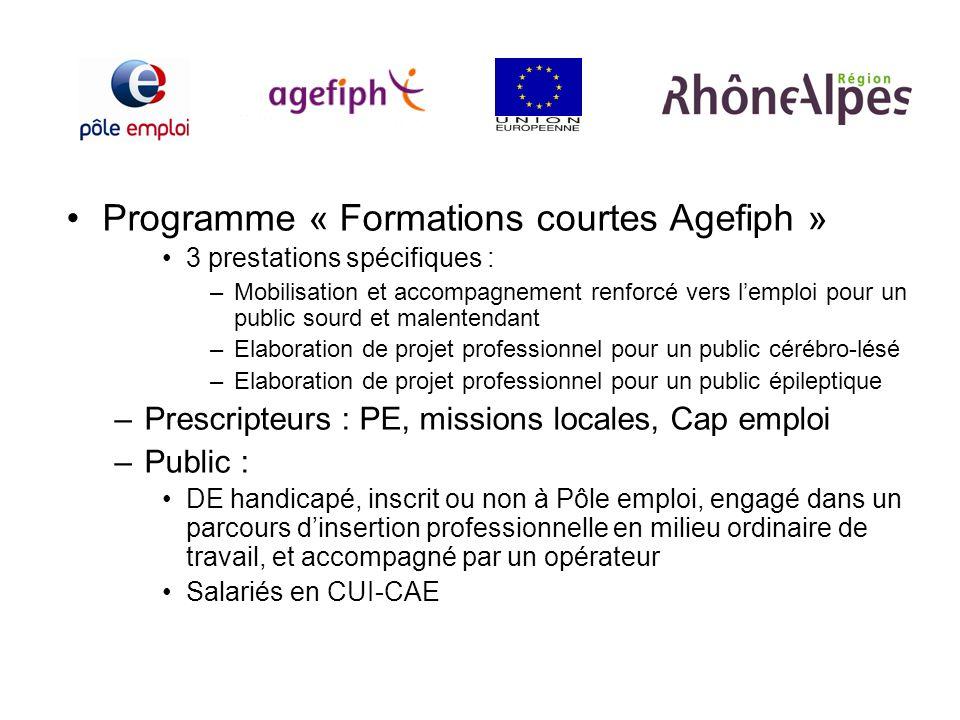 Programme « Formations courtes Agefiph » 3 prestations spécifiques : –Mobilisation et accompagnement renforcé vers lemploi pour un public sourd et mal