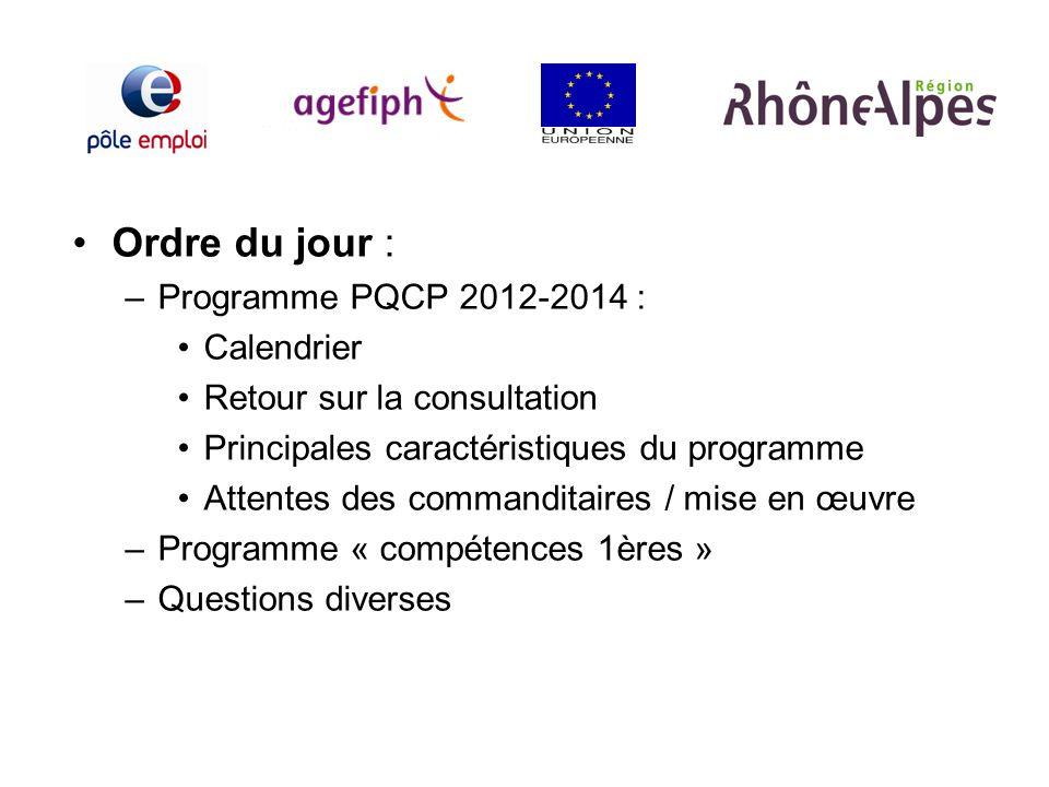 Ordre du jour : –Programme PQCP 2012-2014 : Calendrier Retour sur la consultation Principales caractéristiques du programme Attentes des commanditaire