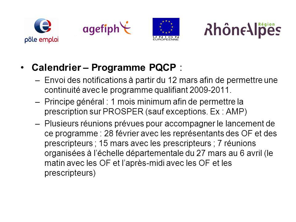 Calendrier – Programme PQCP : –Envoi des notifications à partir du 12 mars afin de permettre une continuité avec le programme qualifiant 2009-2011. –P