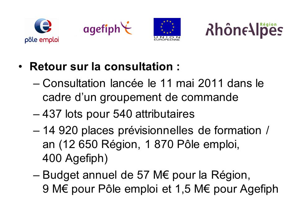 Retour sur la consultation : –Consultation lancée le 11 mai 2011 dans le cadre dun groupement de commande –437 lots pour 540 attributaires –14 920 pla
