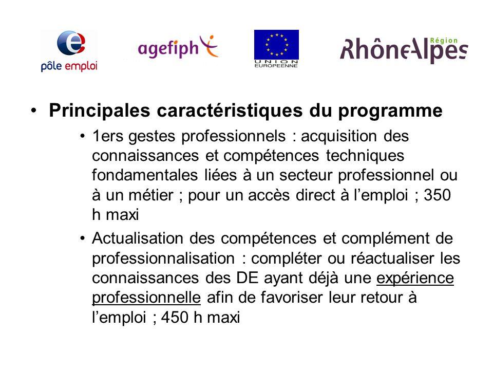 Principales caractéristiques du programme 1ers gestes professionnels : acquisition des connaissances et compétences techniques fondamentales liées à u