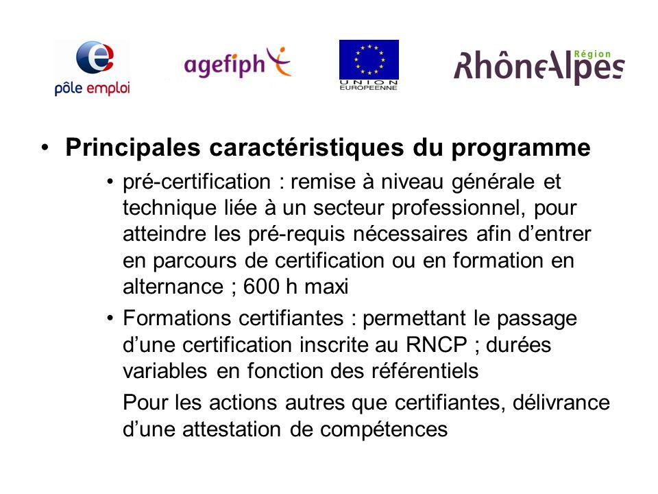 Principales caractéristiques du programme pré-certification : remise à niveau générale et technique liée à un secteur professionnel, pour atteindre le