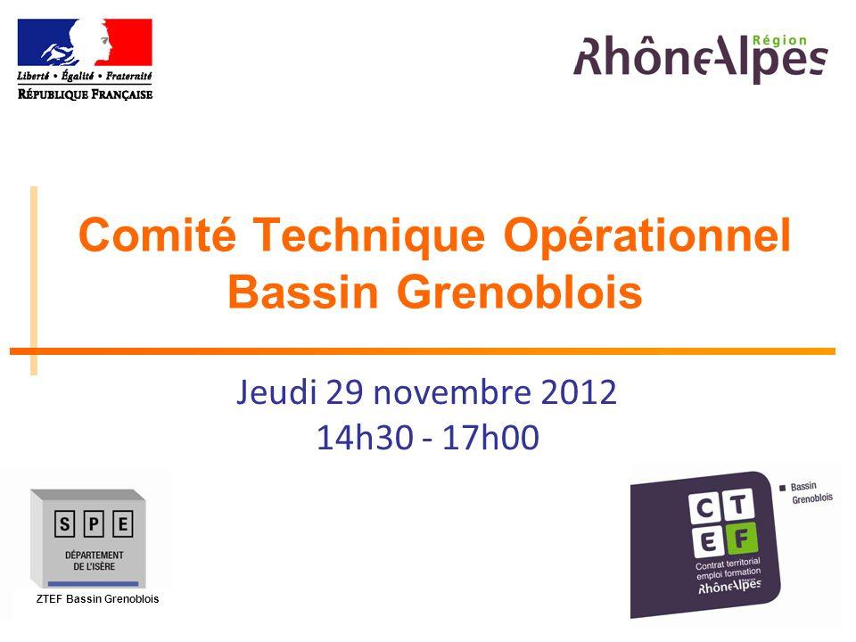 1 Comité Technique Opérationnel Bassin Grenoblois Jeudi 29 novembre 2012 14h30 - 17h00 ZTEF Bassin Grenoblois