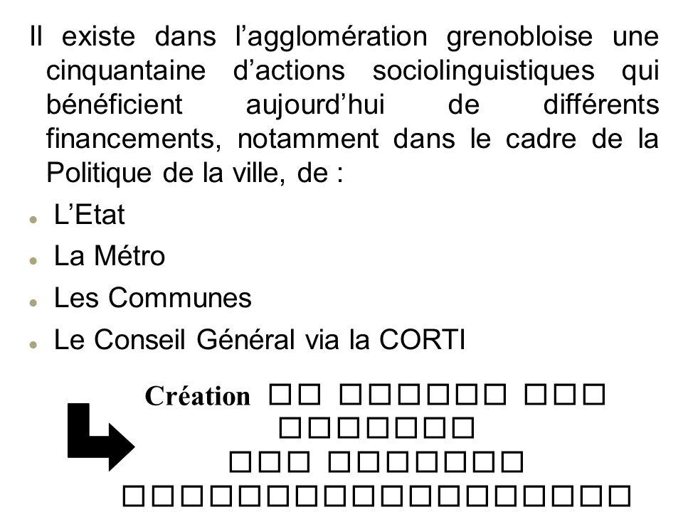 Il existe dans lagglomération grenobloise une cinquantaine dactions sociolinguistiques qui bénéficient aujourdhui de différents financements, notammen