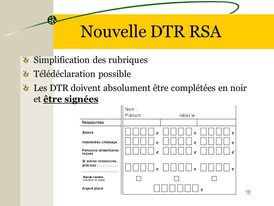 10 Nouvelle DTR RSA Simplification des rubriques Télédéclaration possible Les DTR doivent absolument être complétées en noir et être signées