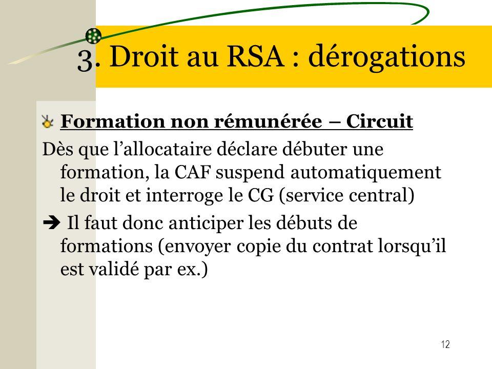 12 3. Droit au RSA : dérogations Formation non rémunérée – Circuit Dès que lallocataire déclare débuter une formation, la CAF suspend automatiquement