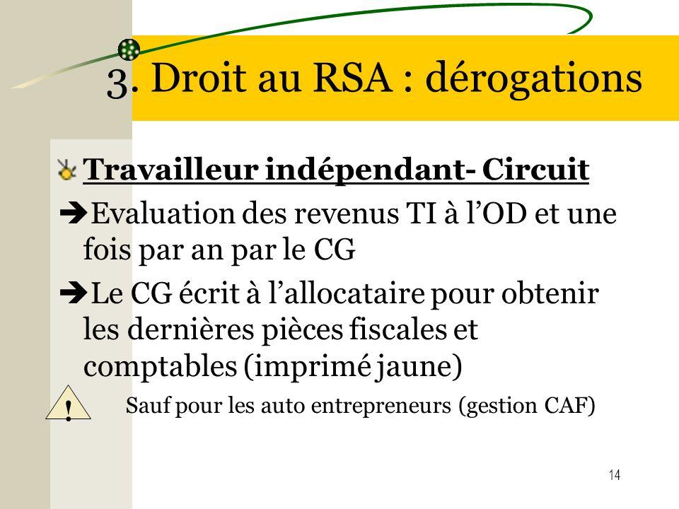 14 3. Droit au RSA : dérogations Travailleur indépendant- Circuit Evaluation des revenus TI à lOD et une fois par an par le CG Le CG écrit à lallocata