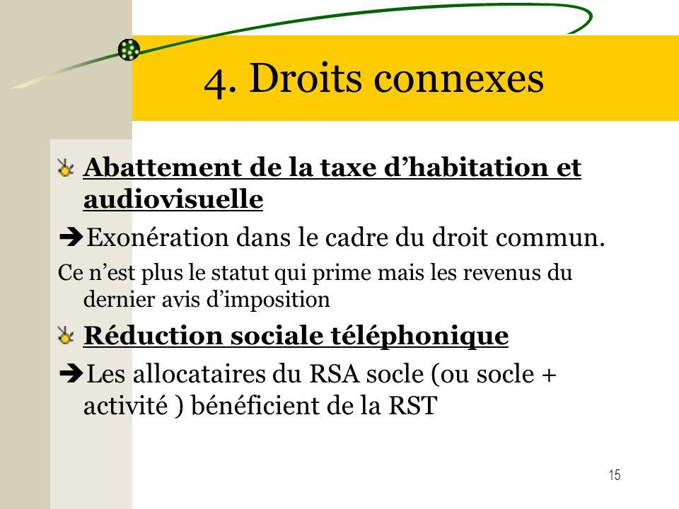 15 4. Droits connexes Abattement de la taxe dhabitation et audiovisuelle Exonération dans le cadre du droit commun. Ce nest plus le statut qui prime m