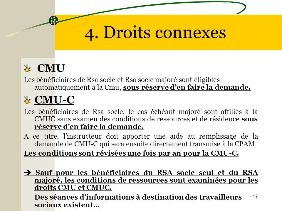 17 4. Droits connexes CMU Les bénéficiaires de Rsa socle et Rsa socle majoré sont éligibles automatiquement à la Cmu, sous réserve den faire la demand