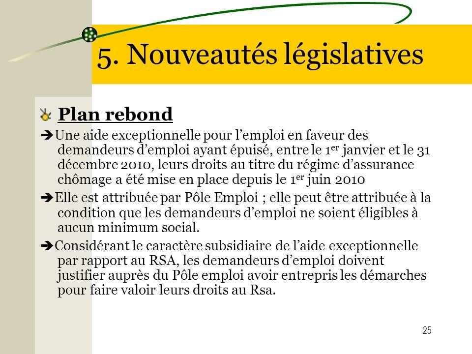 25 5. Nouveautés législatives Plan rebond Une aide exceptionnelle pour lemploi en faveur des demandeurs demploi ayant épuisé, entre le 1 er janvier et