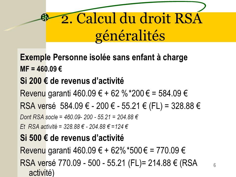 6 2. Calcul du droit RSA généralités Exemple Personne isolée sans enfant à charge MF = 460.09 Si 200 de revenus dactivité Revenu garanti 460.09 + 62 %
