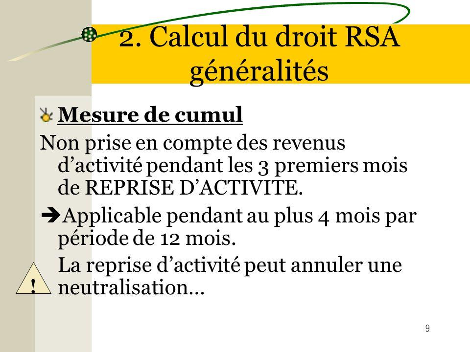9 2. Calcul du droit RSA généralités Mesure de cumul Non prise en compte des revenus dactivité pendant les 3 premiers mois de REPRISE DACTIVITE. Appli