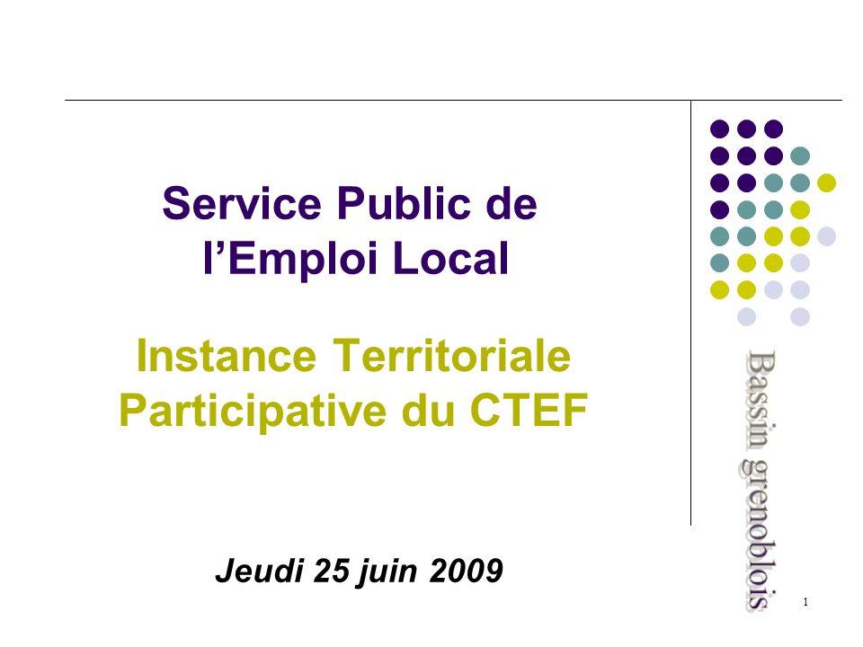 1 Service Public de lEmploi Local Instance Territoriale Participative du CTEF Jeudi 25 juin 2009