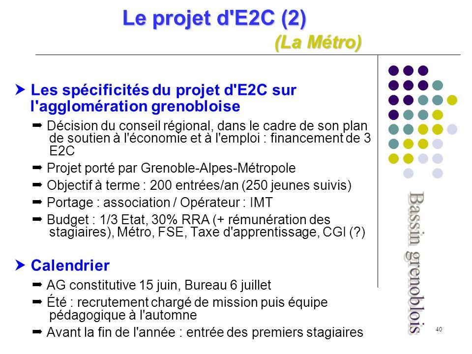 40 Le projet d E2C (2) (La Métro) Les spécificités du projet d E2C sur l agglomération grenobloise Décision du conseil régional, dans le cadre de son plan de soutien à l économie et à l emploi : financement de 3 E2C Projet porté par Grenoble-Alpes-Métropole Objectif à terme : 200 entrées/an (250 jeunes suivis) Portage : association / Opérateur : IMT Budget : 1/3 Etat, 30% RRA (+ rémunération des stagiaires), Métro, FSE, Taxe d apprentissage, CGI ( ) Calendrier AG constitutive 15 juin, Bureau 6 juillet Été : recrutement chargé de mission puis équipe pédagogique à l automne Avant la fin de l année : entrée des premiers stagiaires