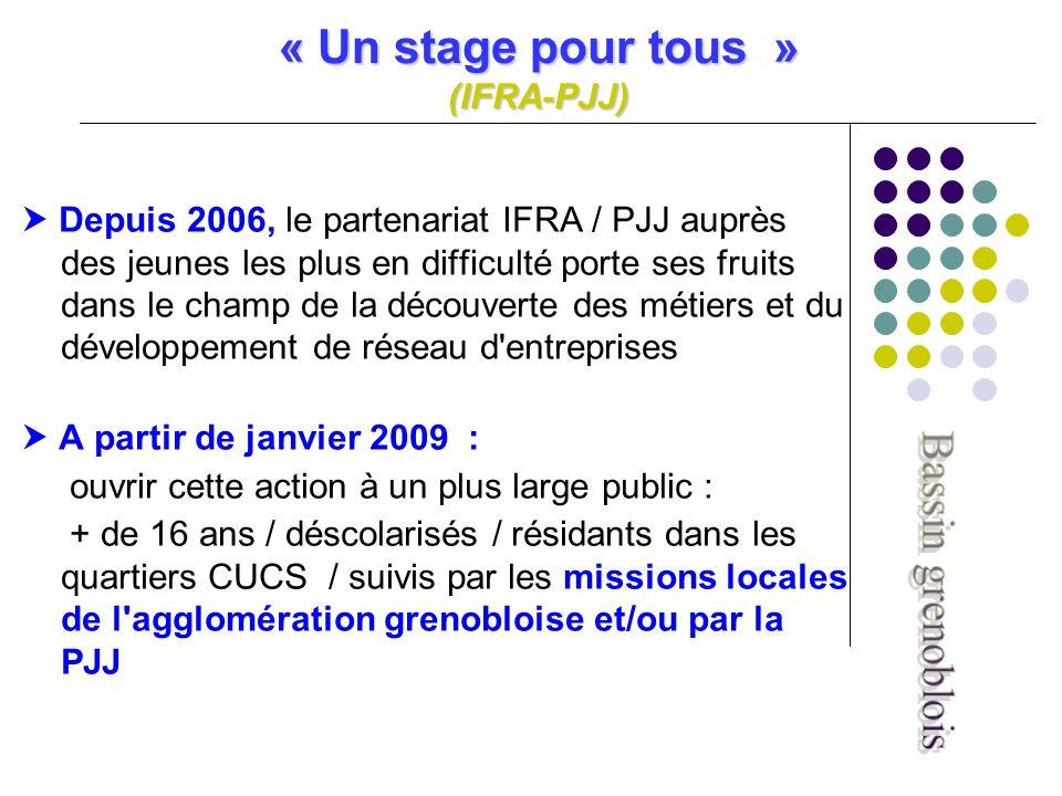 « Un stage pour tous » (IFRA-PJJ) Depuis 2006, le partenariat IFRA / PJJ auprès des jeunes les plus en difficulté porte ses fruits dans le champ de la découverte des métiers et du développement de réseau d entreprises A partir de janvier 2009 : ouvrir cette action à un plus large public : + de 16 ans / déscolarisés / résidants dans les quartiers CUCS / suivis par les missions locales de l agglomération grenobloise et/ou par la PJJ