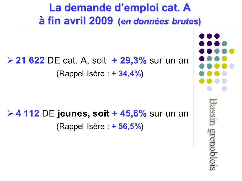 La demande demploi cat. A à fin avril 2009 (en données brutes) 21 622 DE cat.