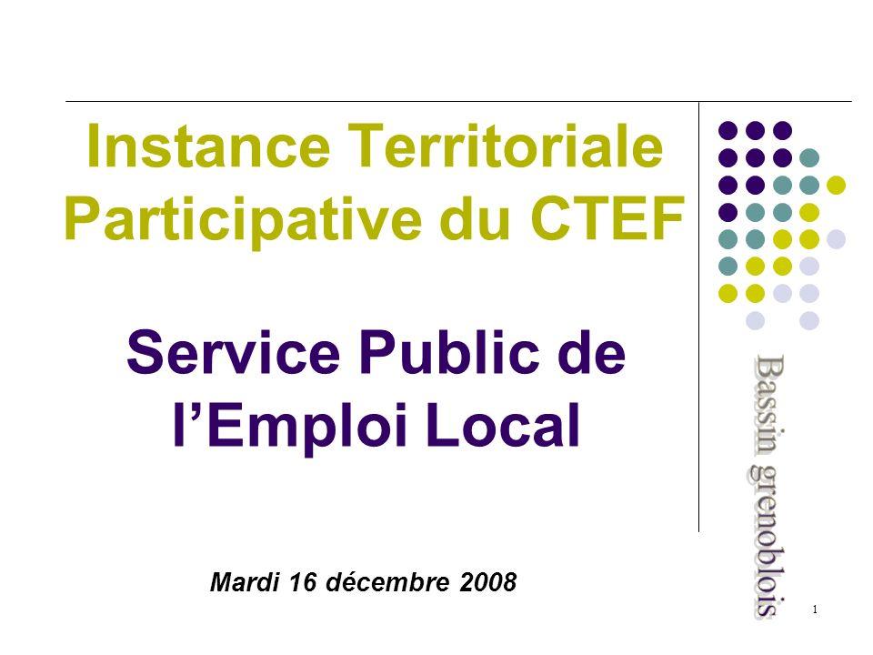 1 Service Public de lEmploi Local Instance Territoriale Participative du CTEF Mardi 16 décembre 2008