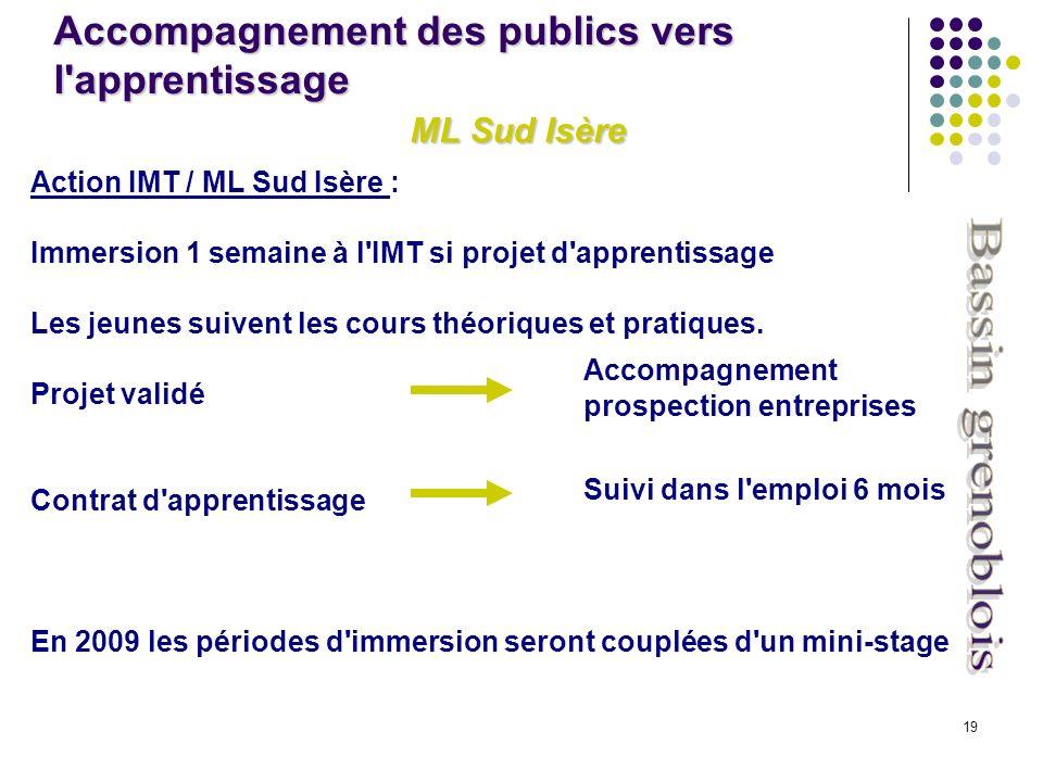 19 Action IMT / ML Sud Isère : Immersion 1 semaine à l IMT si projet d apprentissage Les jeunes suivent les cours théoriques et pratiques.