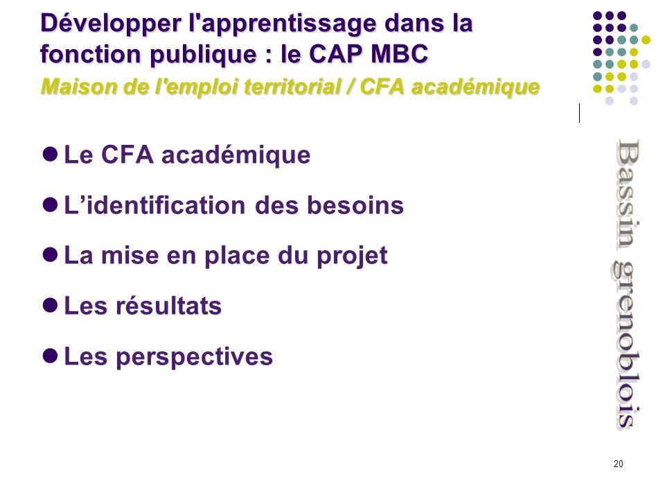 20 Le CFA académique Lidentification des besoins La mise en place du projet Les résultats Les perspectives