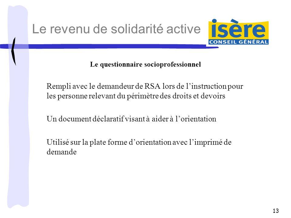 13 Le revenu de solidarité active Le questionnaire socioprofessionnel Rempli avec le demandeur de RSA lors de linstruction pour les personne relevant