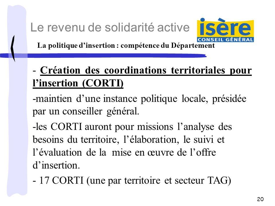 20 La politique dinsertion : compétence du Département Le revenu de solidarité active - Création des coordinations territoriales pour linsertion (CORT
