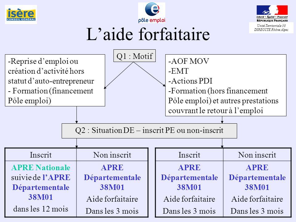Unité Territoriale 38 DIRECCTE Rhône Alpes Laide forfaitaire Q1 : Motif -Reprise demploi ou création dactivité hors statut dauto-entrepreneur - Format