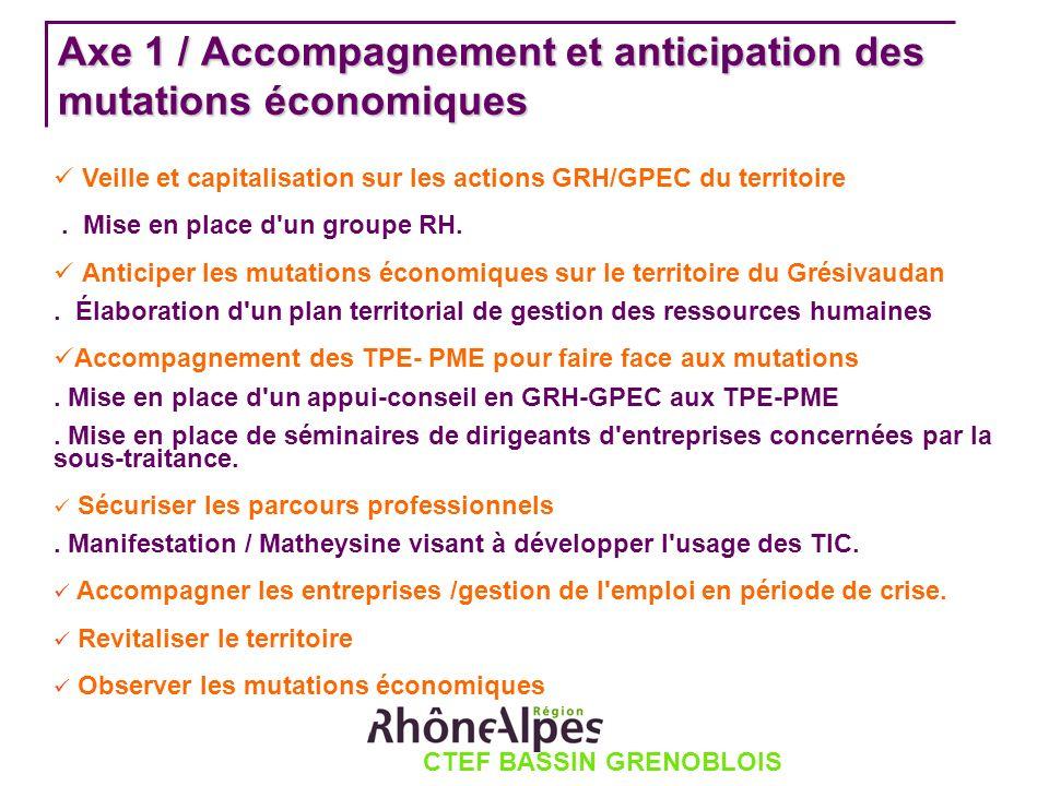 CTEF BASSIN GRENOBLOIS Axe 1 / Accompagnement et anticipation des mutations économiques Veille et capitalisation sur les actions GRH/GPEC du territoire.