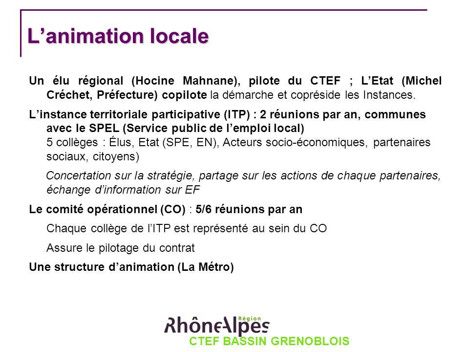 CTEF BASSIN GRENOBLOIS Lanimation locale Un élu régional (Hocine Mahnane), pilote du CTEF ; LEtat (Michel Créchet, Préfecture) copilote la démarche et copréside les Instances.