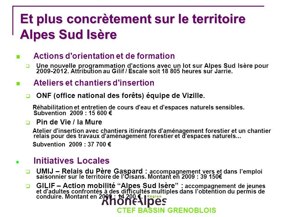 CTEF BASSIN GRENOBLOIS Et plus concrètement sur le territoire Alpes Sud Isère Actions d orientation et de formation Une nouvelle programmation d actions avec un lot sur Alpes Sud Isère pour 2009-2012.