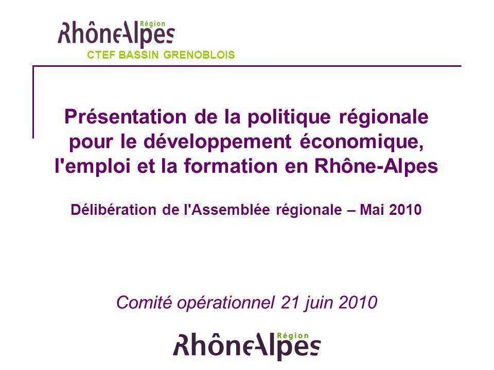Présentation de la politique régionale pour le développement économique, l emploi et la formation en Rhône-Alpes Délibération de l Assemblée régionale – Mai 2010 Comité opérationnel 21 juin 2010 CTEF BASSIN GRENOBLOIS